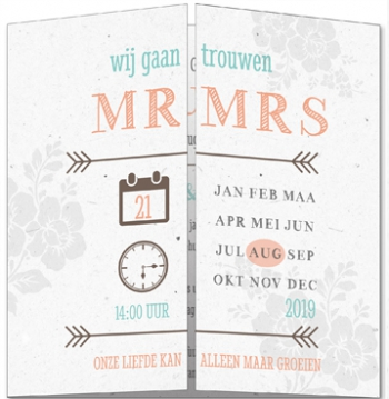 Trouwkaart vintage mr en mrs met kalender tweeluik