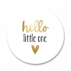 Goudfolie sluitsticker met hello little one