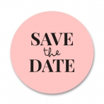 Roze sluitsticker met de tekst Save The Date