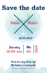 Maritieme save the date kaart met anker en windroos