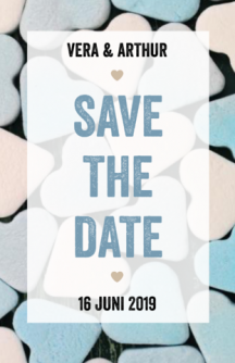 Save the date kaart met tekst en snoephartjes