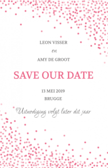 Save the date kaart met tekst en roze confetti