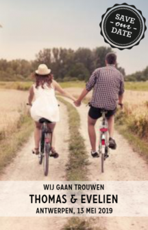 Save the date kaart met grote foto en stempel