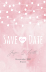 Roze save the date kaart met lampjes