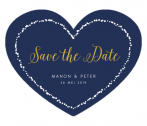 Save the date kaart in blauwe hartvorm