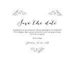 Witte save the date kaart in hartvorm takjes en tekst
