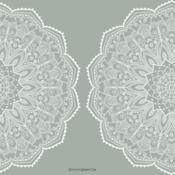 Tweeluik trouwkaart in early dew met witte mandala