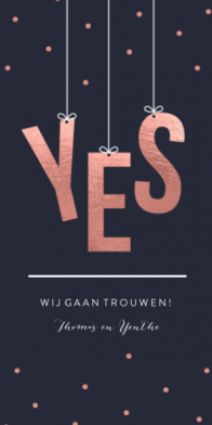 Trouwkaart met YES in rose gold look