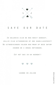 Moderne save the date kaart met datum en foto