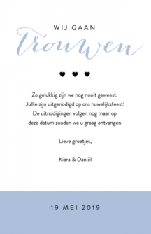 Hippe save the date kaart met grote foto
