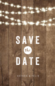 Rustieke save the date kaart met lampjes