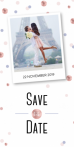 Save the date kaart met roze confetti en foto