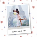 Save the date kaart met polaroid en confetti