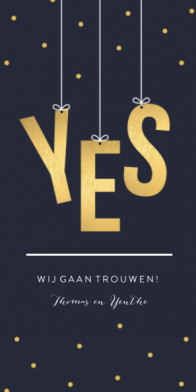 Trouwkaart met YES in goudlook