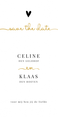 Save the date kaart tekst in sierlijke typografie