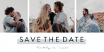 Save the date kaart met drie fotokaders