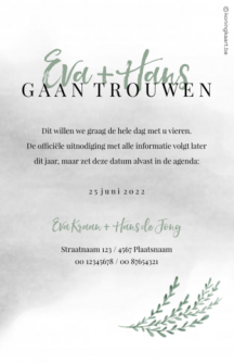 Save the date kaart met foto en takje