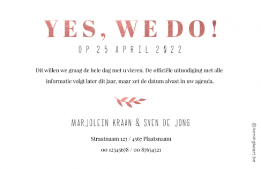 Save the date kaart met foto en blaadje