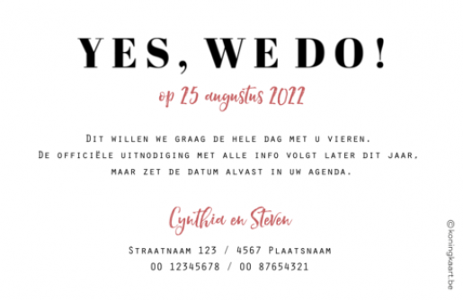 Save the date kaart met eigen foto groot