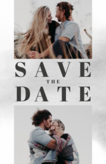 Save the date kaart met twee fotokaders