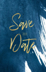 Donkerblauwe save the date met goud look