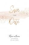 Save the date kaart blush met gouden spetters