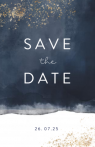 Donkerblauwe save the date kaart met spetters