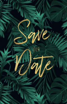 Jungle save the date met goud look