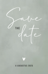 Minimalistische save the date kaart met hartje