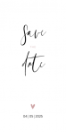 Minimalistische save the date met chique typografie