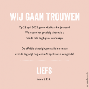 Hippe save the date met lampjes