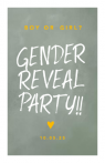 Groene waterverf uitnodiging gender reveal party