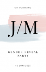 Uitnodiging gender reveal party met j/m