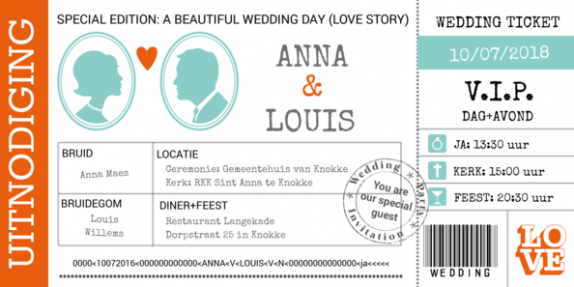Trouwkaart wedding ticket Special Edition