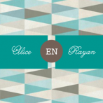 Trouwkaart retro patroon in beige en groen