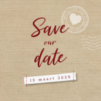 Canvas save the date kant met stempel en foto