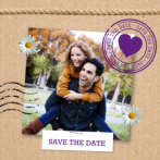 Kraftpapier save the date met touw en foto