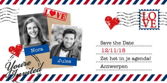 Save the date langwerpig airmail