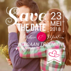 Save the date met foto en typografie