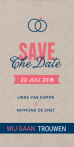 Kraftpapier save the date met ringen