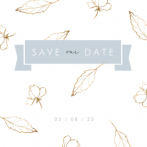 Save the date kaart goud met blauwe banner