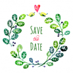Save the date watercolor krans van blaadjes
