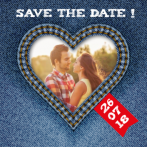 Save the date jeanshart met foto en rood labeltje