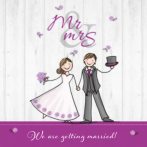 Trouwkaart Mr-mrs paars