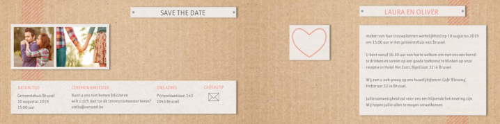 Trouwkaart kraftpapier save the date