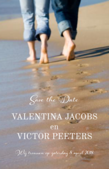 Save-the-date kaart met strandfoto en tekst