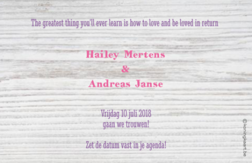 Save the date wit steigerhout met eigen foto