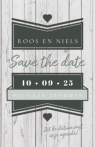 Save the date kaart steigerhout met groen label