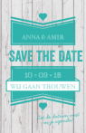 Save the date steigerhout met groen label