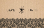 Kraftpapier save the date met zwart kant